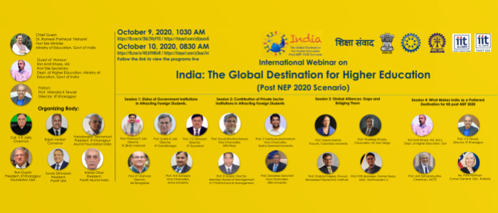 International Webinar on India the Global Destination for Higher Education, post-NEP 2020